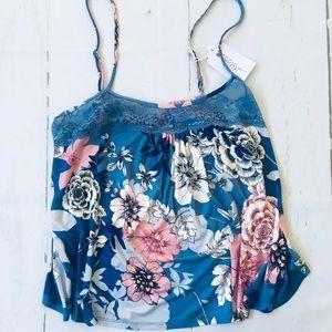 In Bloom  Blue Floral Tank Top